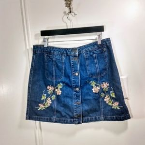 Top Shop Moto Jean Mini Skirt with Embroiderey